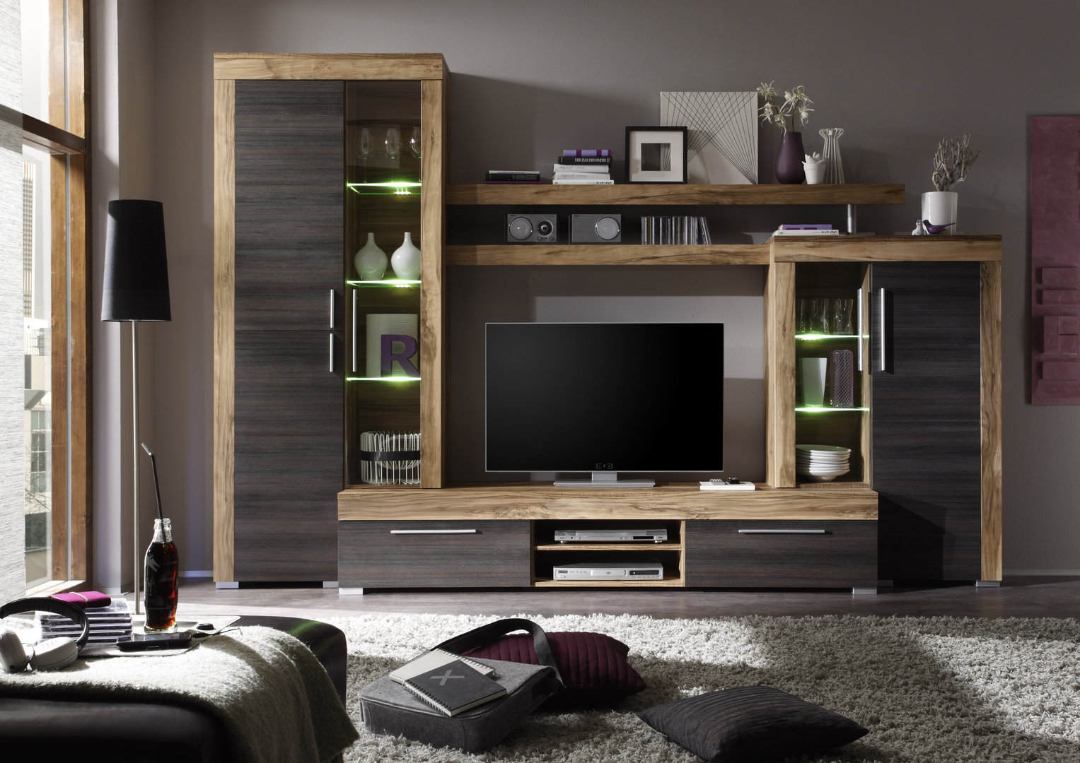 Soggiorno moderno friend parete porta tv di design con led for Mobiletti tv ikea