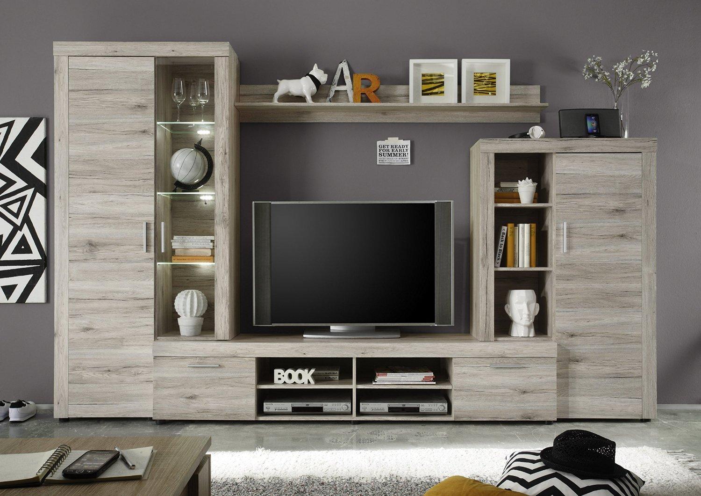 Soggiorno moderno iago composizione parete porta tv con led - Parete tv moderna ...