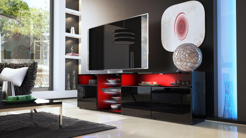 Porta tv moderno mozart mobile soggiorno bianco o nero - Porta tv nero ...
