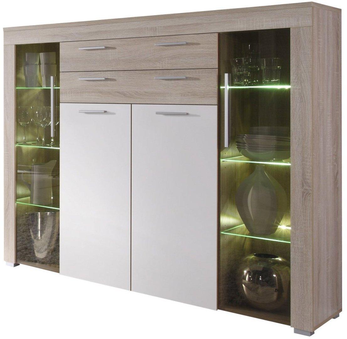 Vetrina moderna azalea credenza con led mobile soggiorno for Credenza cucina mondo convenienza