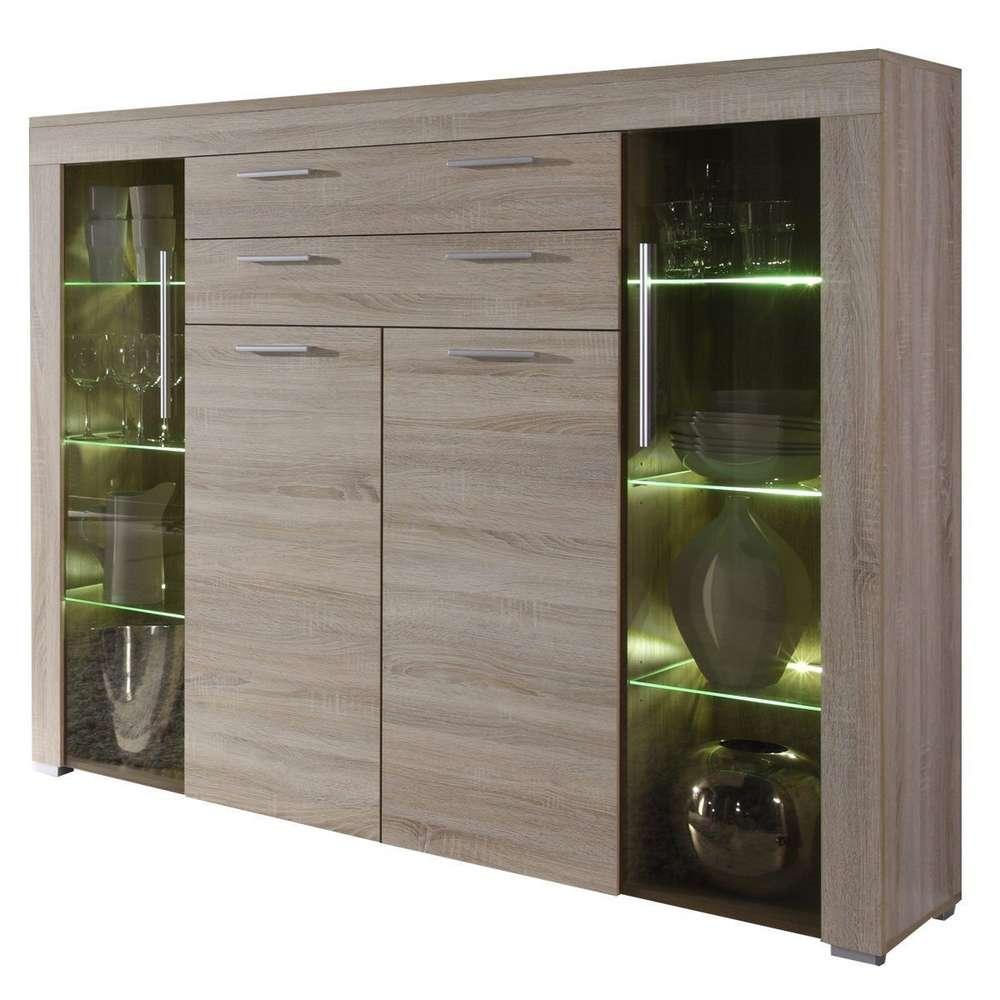Vetrina moderna Azalea,credenza con led, mobile soggiorno design