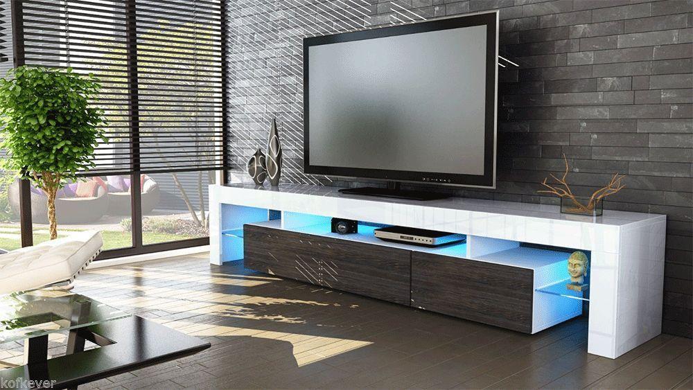 porta tv vivaldi, mobile bianco con led rgb per soggiorno moderno - Arredamento Soggiorno Wenge