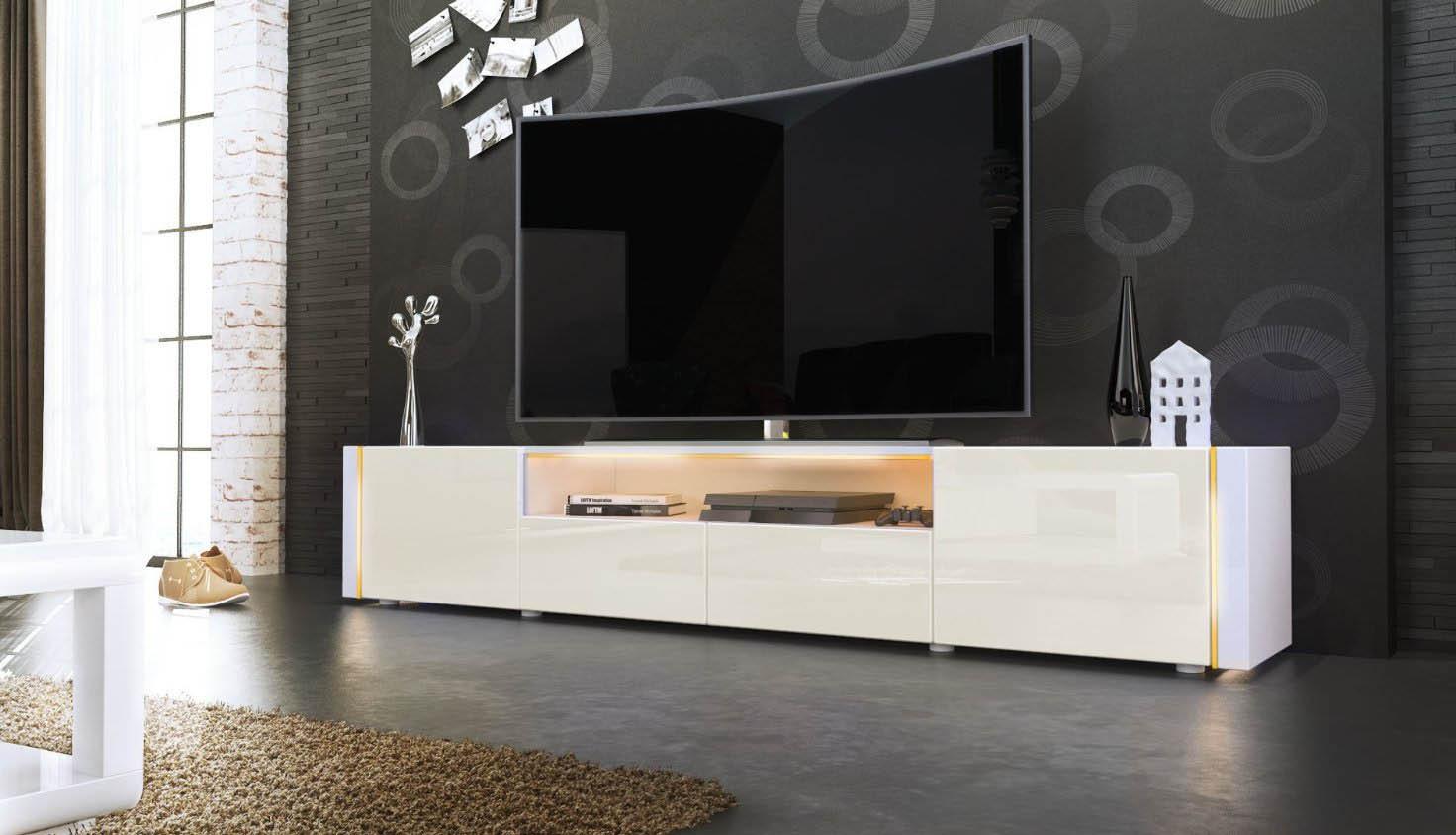 Casanova porta tv moderno mobile soggiorno bianco con led - Mobile moderno per soggiorno ...