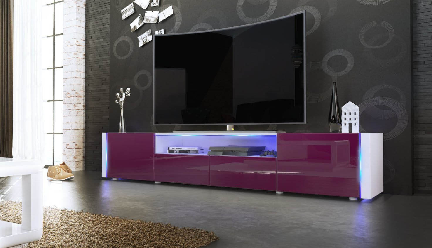Casanova porta tv moderno mobile soggiorno bianco con led for Mobile soggiorno bianco