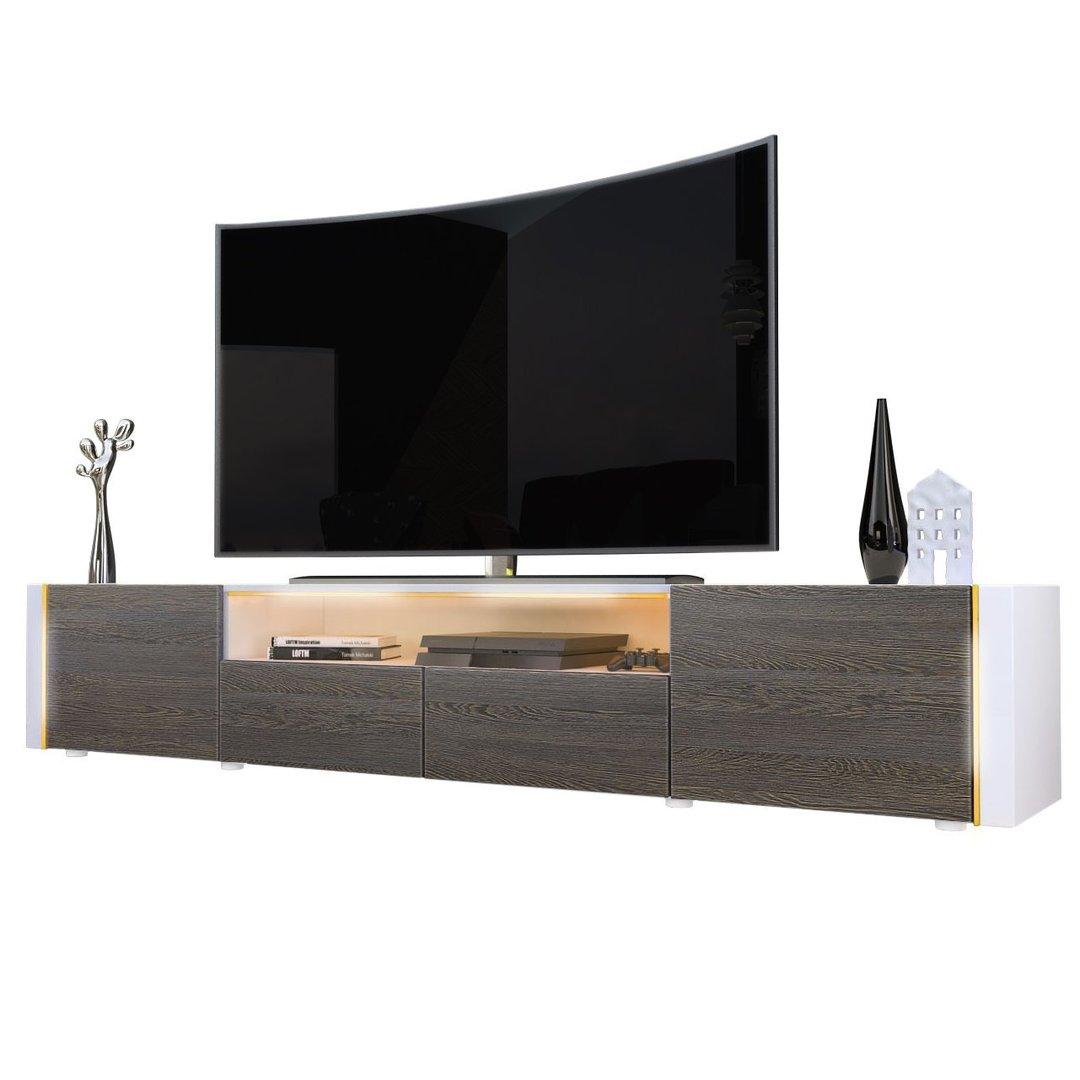 Casanova porta tv moderno mobile soggiorno bianco con led for Mobile porta tv