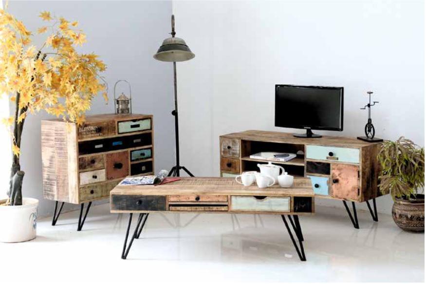 Porta tv Bistrot, mobile vintage, portatv moderno colorato
