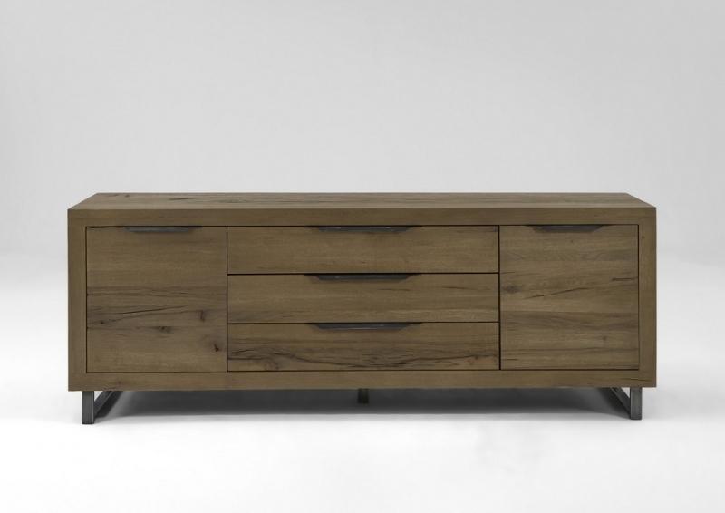 Madia Italia in legno rovere massiccio, mobile di design moderno