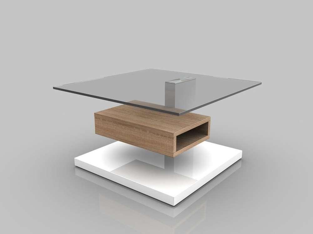 Tavolino moderno joy,mobile soggiorno design con mensola in vetro