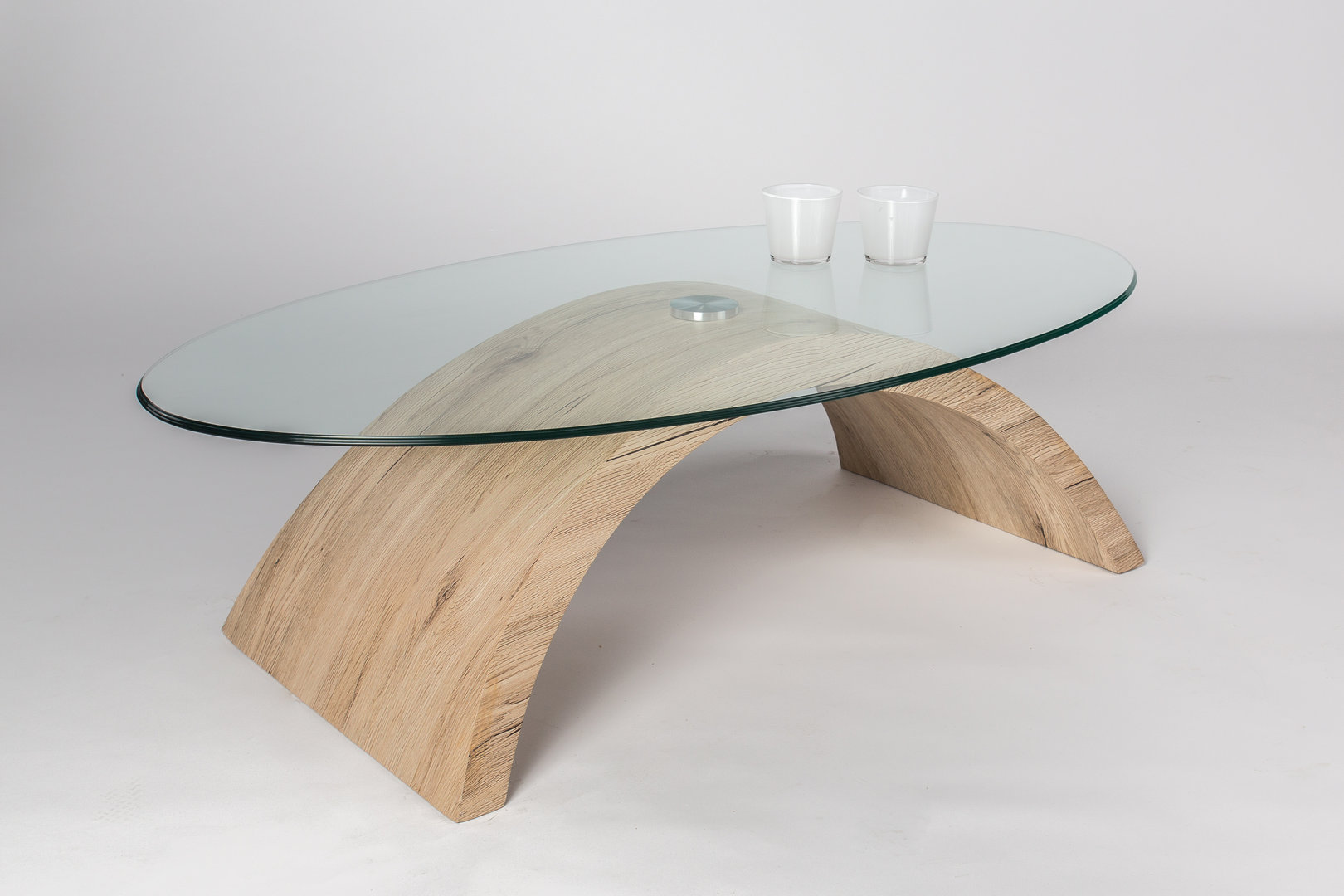 Tavolino Otto con ripiano in vetro, tavolo da caffè moderno di design