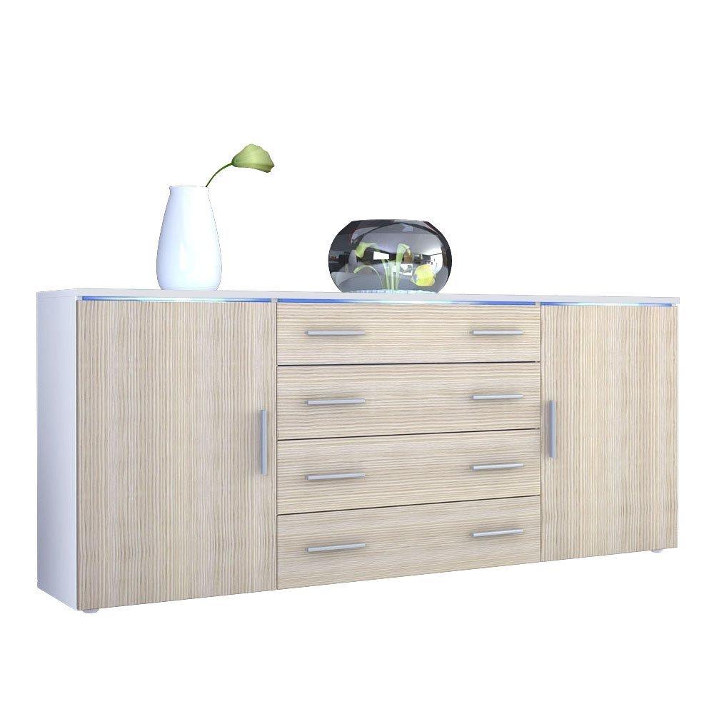 Credenza bianca Messina, madia moderna in 2 dimensioni design
