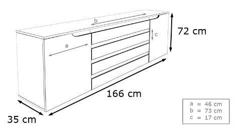 spring madia moderna, mobile soggiorno 2 misure, 10 colori design - Misure Soggiorno