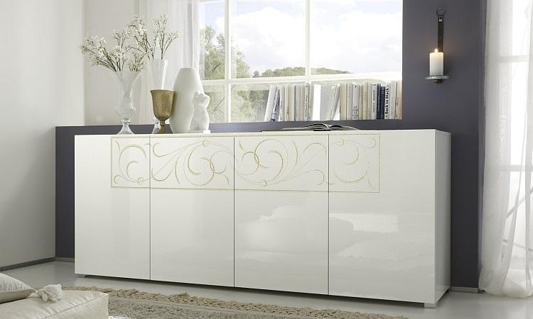 Madia moderna Romantica M, credenza bianca lucida e glitterata di design