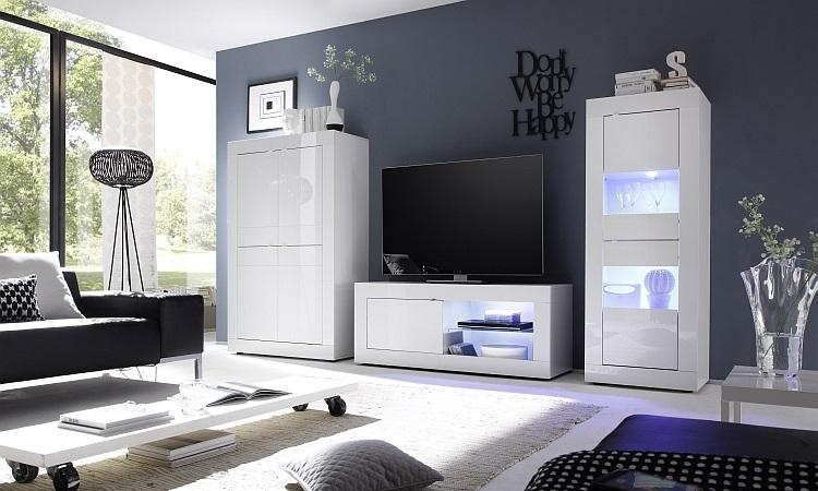 Vetrina moderna Square V2, credenza con led, mobile soggiorno