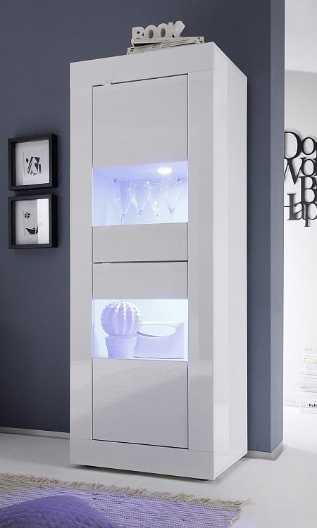 Vetrina moderna Square V2, credenza con led, mobile soggiorno e sala