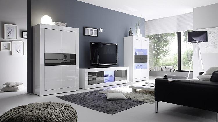 Porta tv square a31, mobile per tv, soggiorno moderno con led