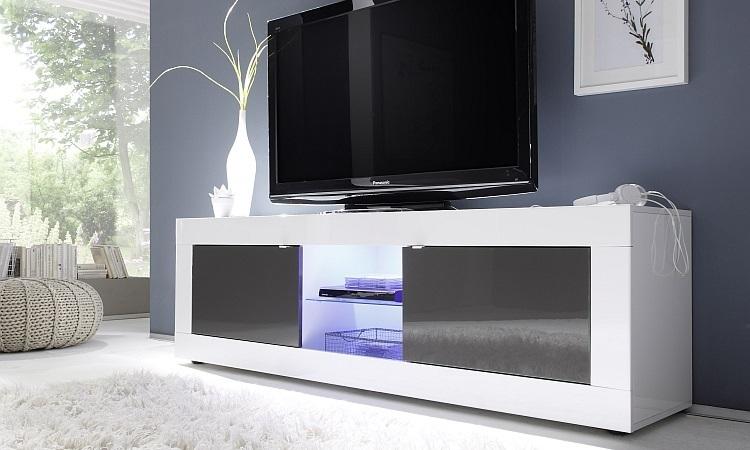 Porta tv Square A31, mobile tv moderno, soggiorno di design con led
