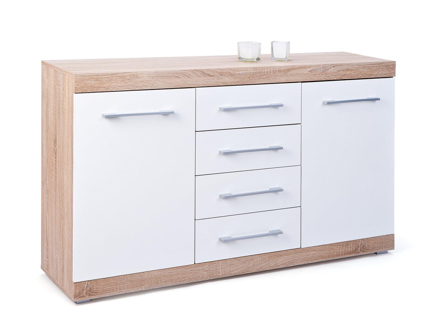 Credenza moderna Sara 52, madia bianca di design, mobile soggiorno