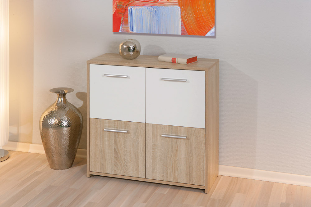 Mobiletto martino bianco e rovere soggiorno ingresso moderno for Petit meuble de salon