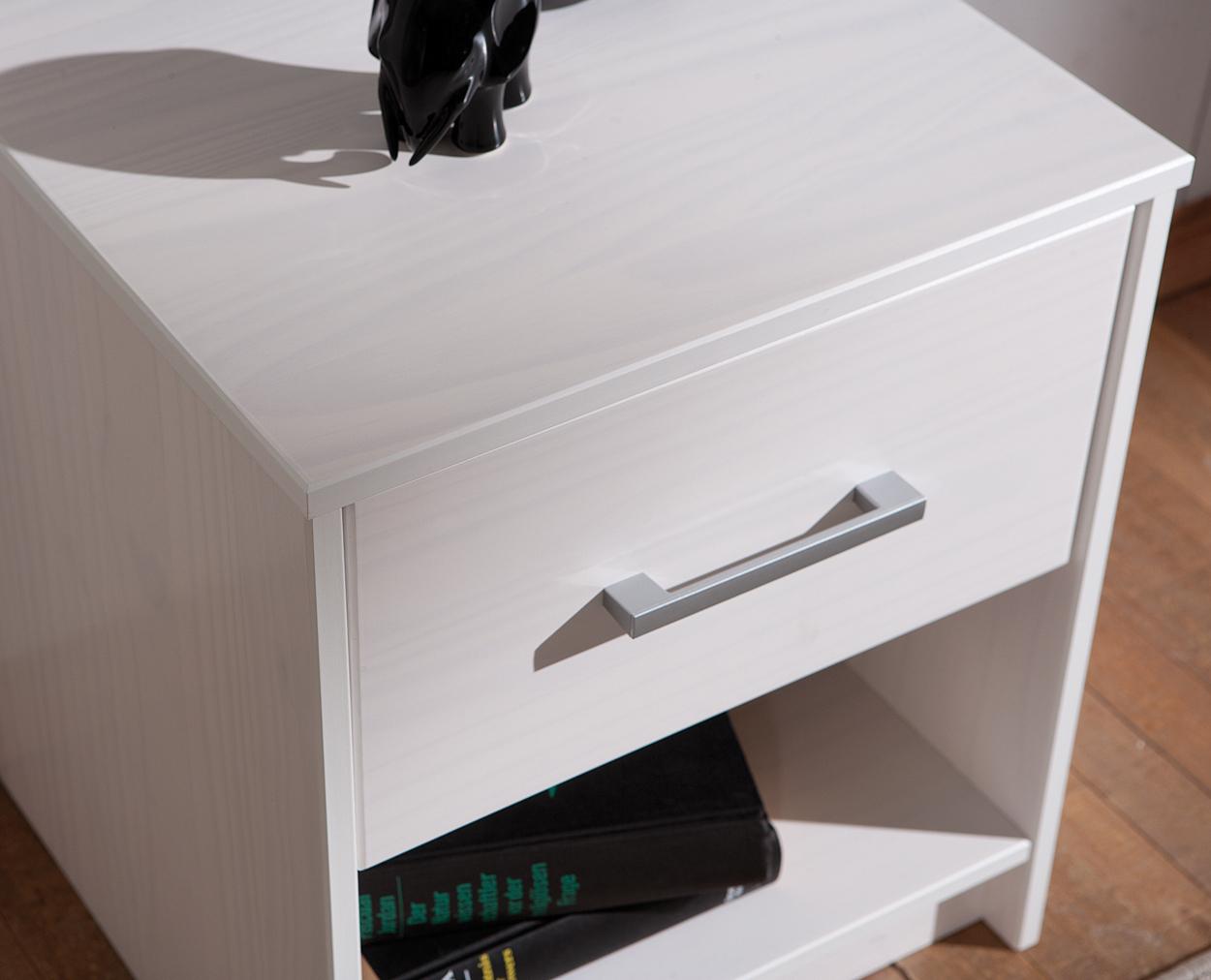 Comodino moderno Gimbo, mobile camera da letto, comodino bianco