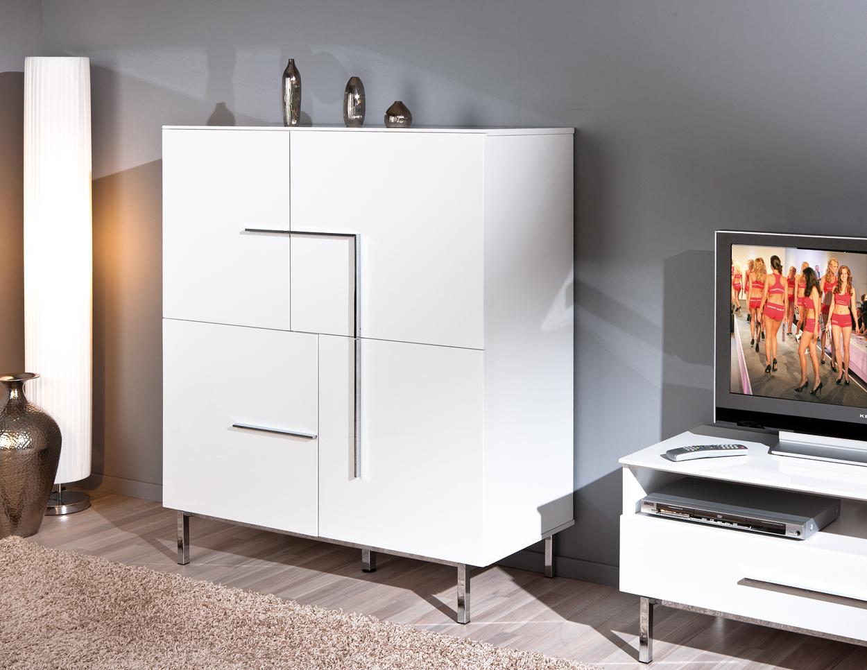 Credenza moderna Jole 21,mobile sala e soggiorno bianco design