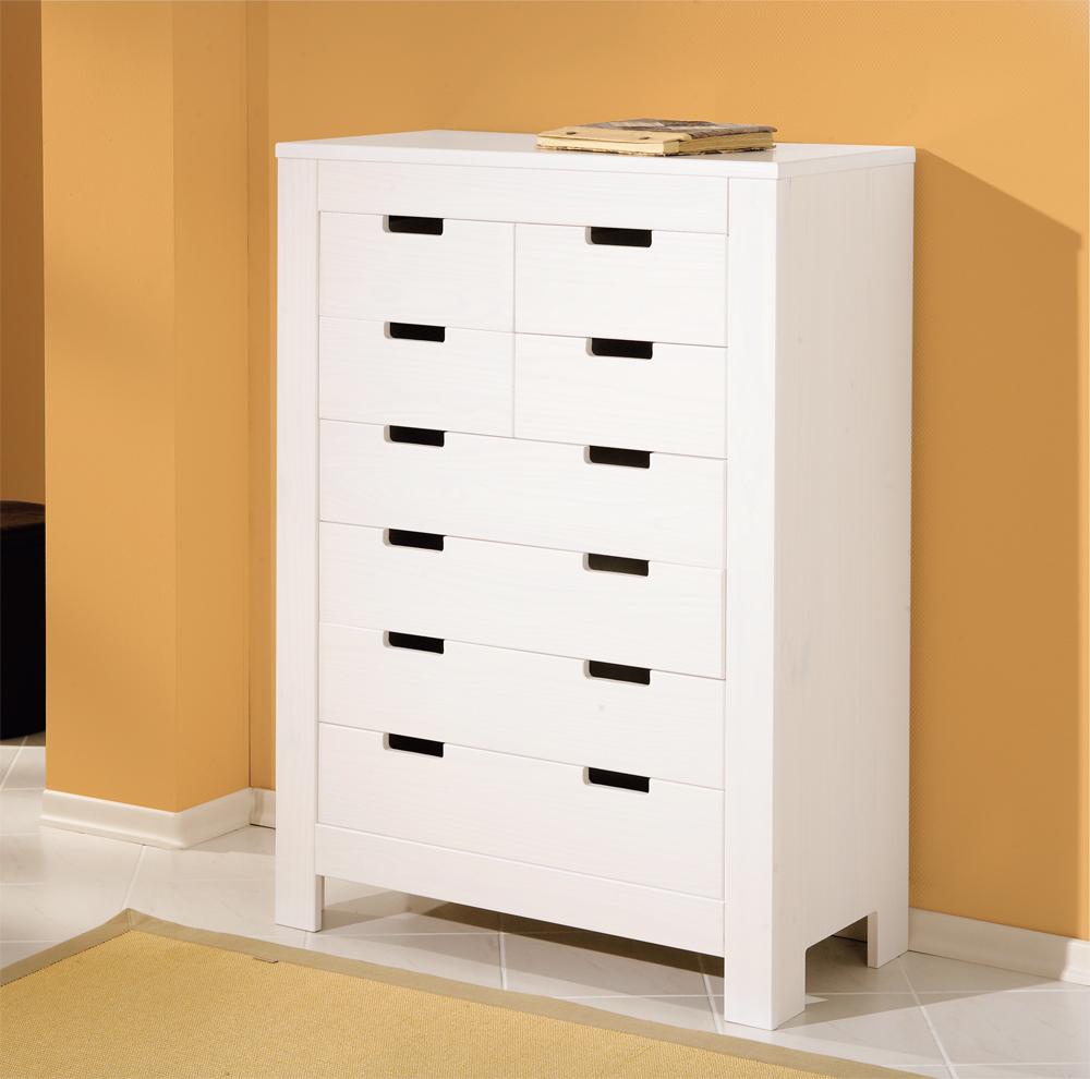Cassettiera bianca anna mobile soggiorno sala in pino - Soggiorno legno massello ...