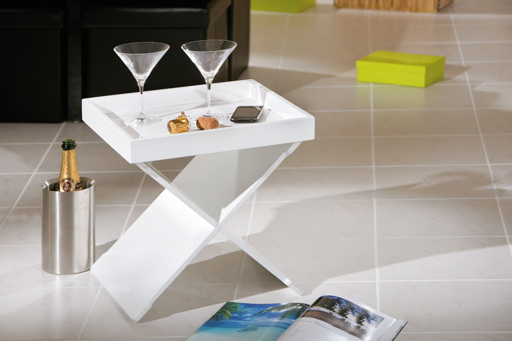 Revit tavolino moderno bianco nero mobile con vassoio for Tavolino vassoio