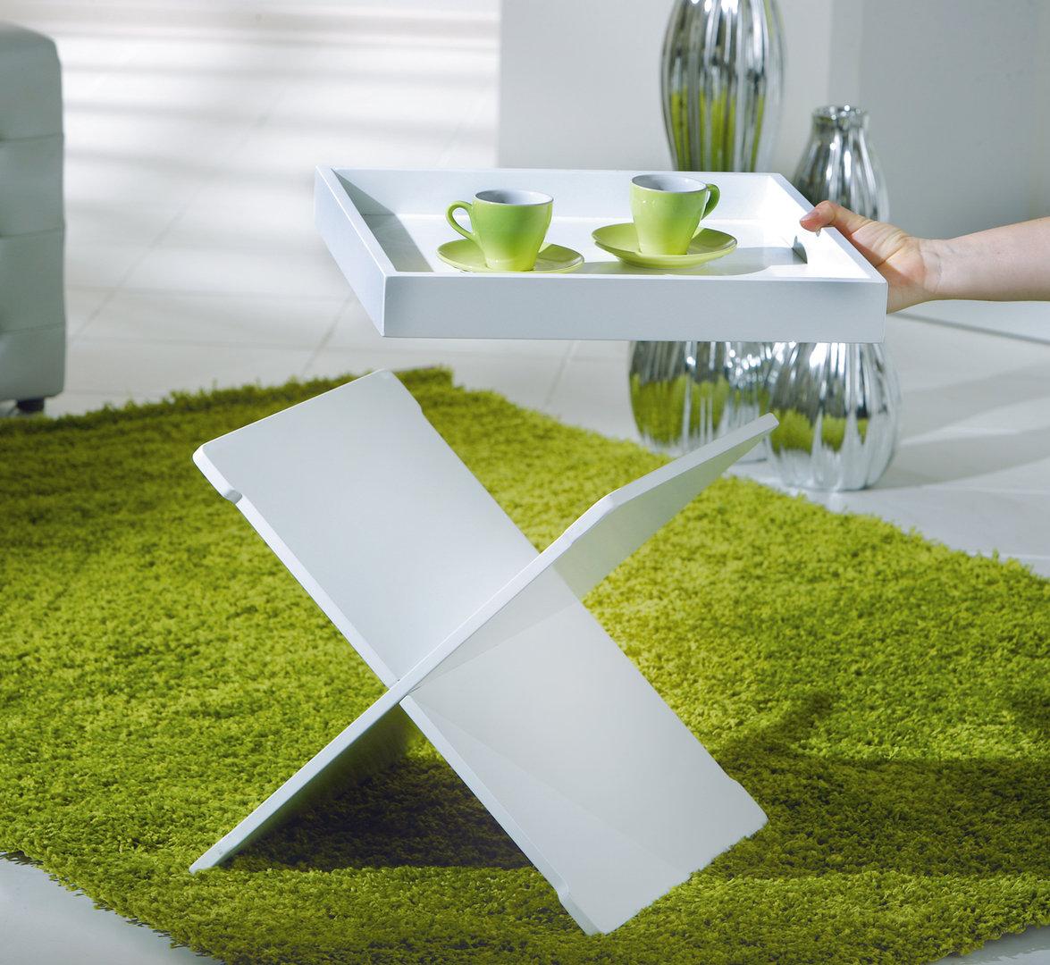 Revit tavolino moderno bianco o nero, mobile con vassoio removibile