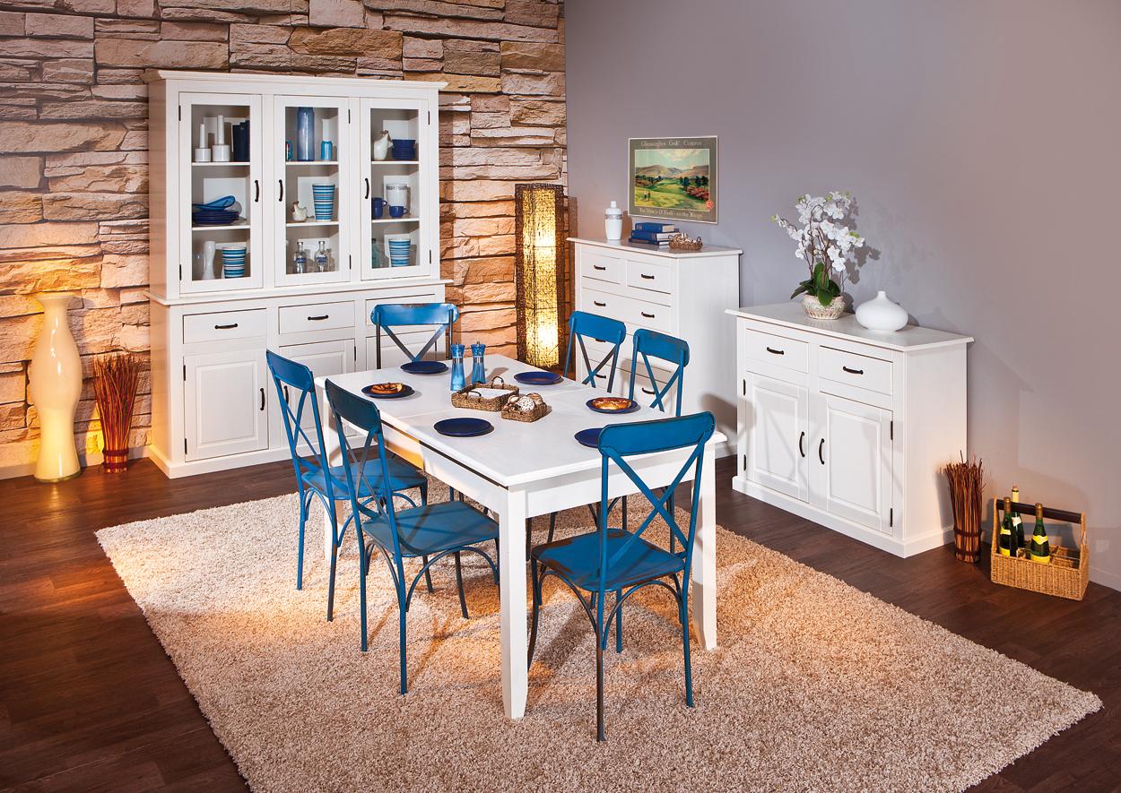 Nora cassettiera moderna bianca, mobile soggiorno in legno massello
