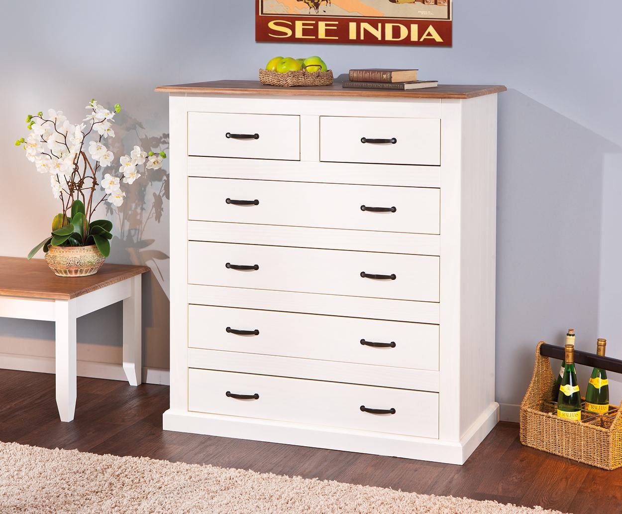 Nora cassettiera moderna bianca, mobile in legno massello