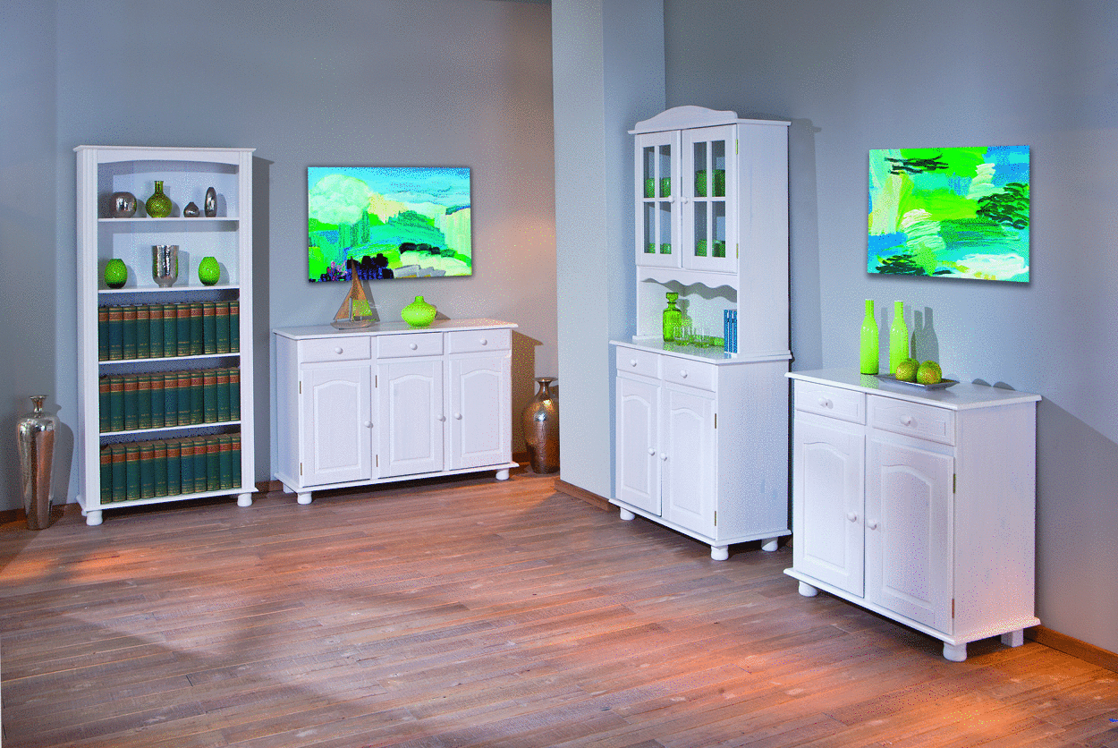 Vetrina classica bianca Fiona, mobile sala,cucina,soggiorno country