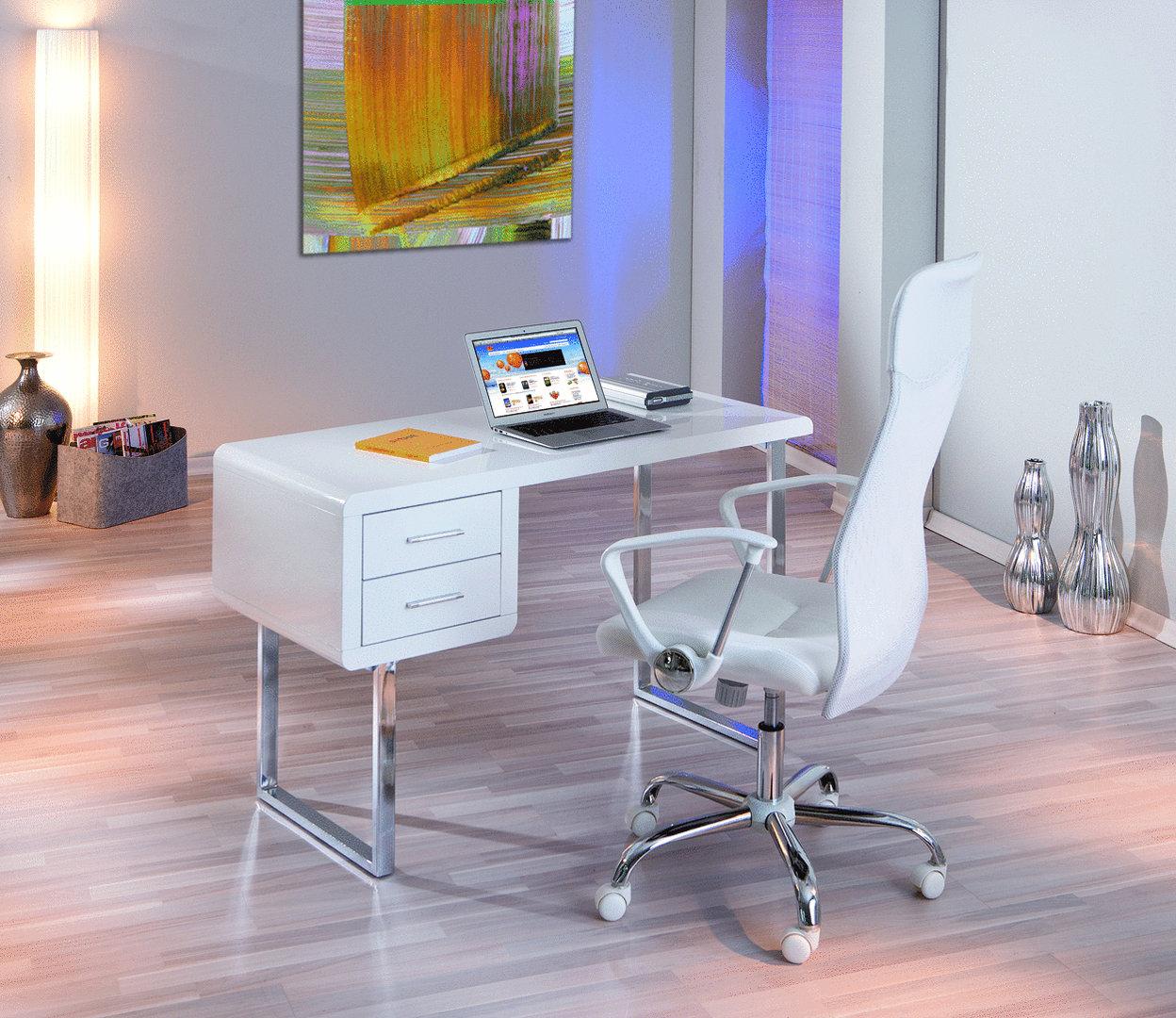 Mobile ufficio soggiorno di design scrivania bianca simona for Mobile di design
