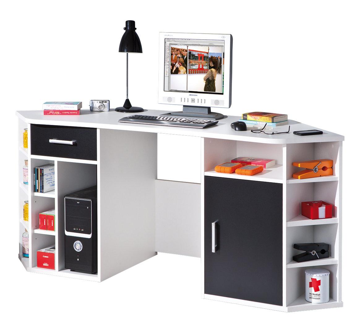 Scrivania ad angolo moderna Corner, in due colori, per ufficio, studio
