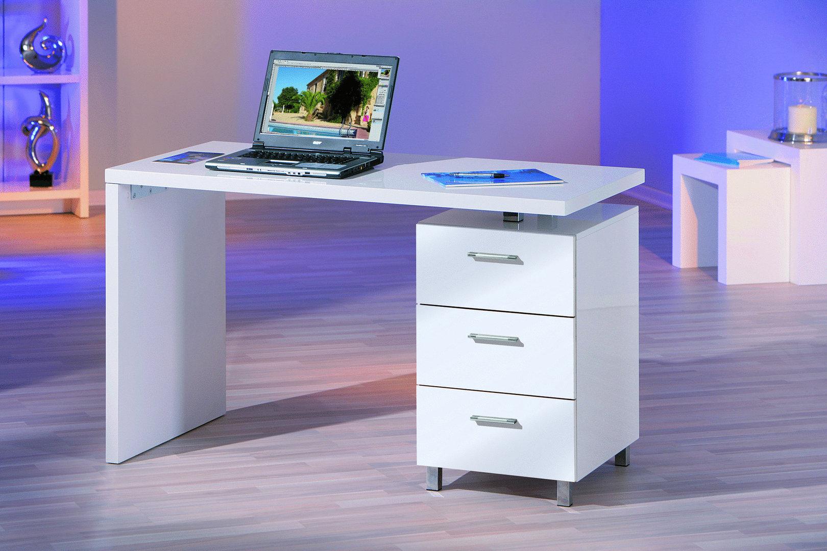 Scrivania bianca Shark, mobile ufficio,studio, soggiorno moderno