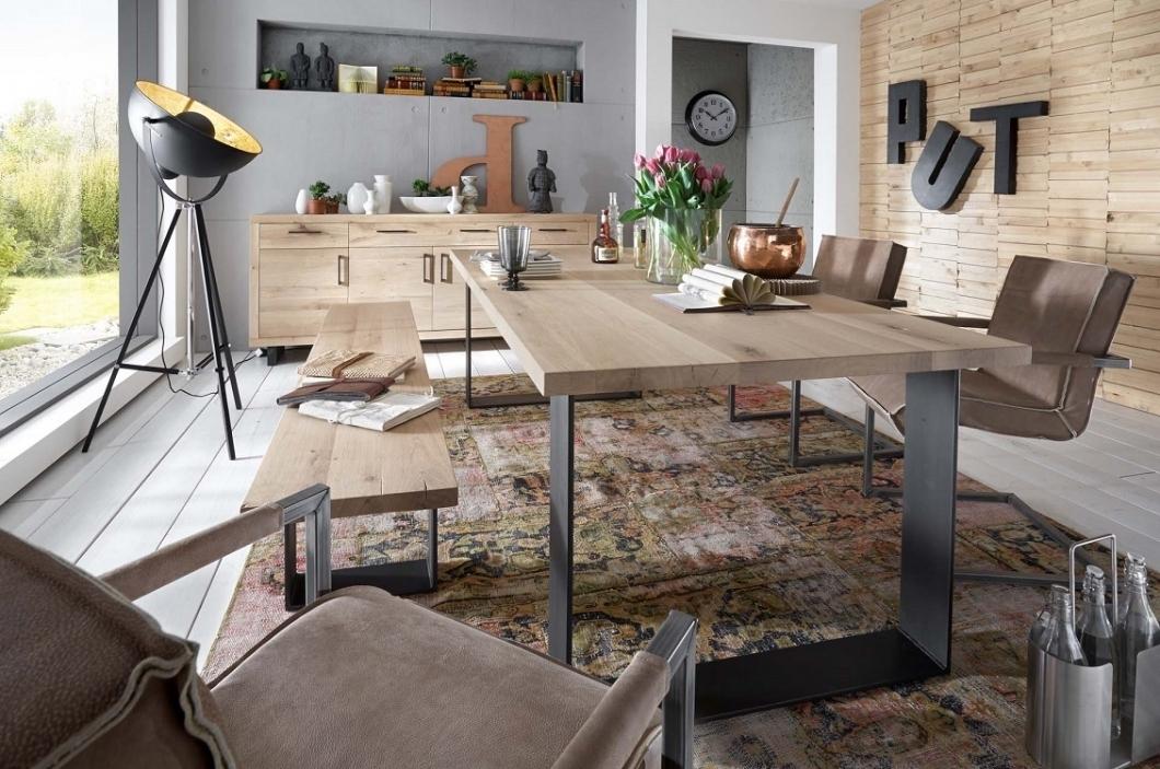 Tavolo da pranzo Gold, in legno massiccio, mobile moderno, sala