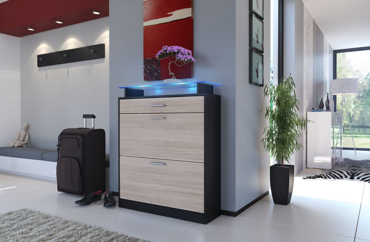 Scarpiera nera moderna brina mobile ingresso entrata in 19 - Scarpiera moderna design ...