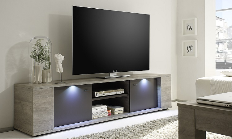 Porta tv moderno Astro G20, mobile per tv grigio, soggiorno con led