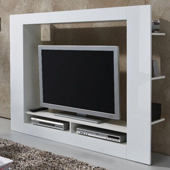 Porta tv moderno Quadro, parete soggiorno design, mobile bianco per tv