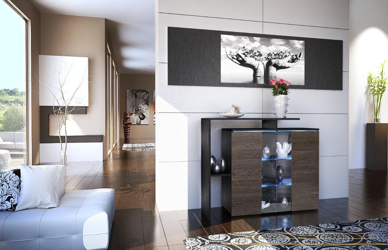 Rock comò nero, mobile soggiorno moderno in 13 colori con led RGB