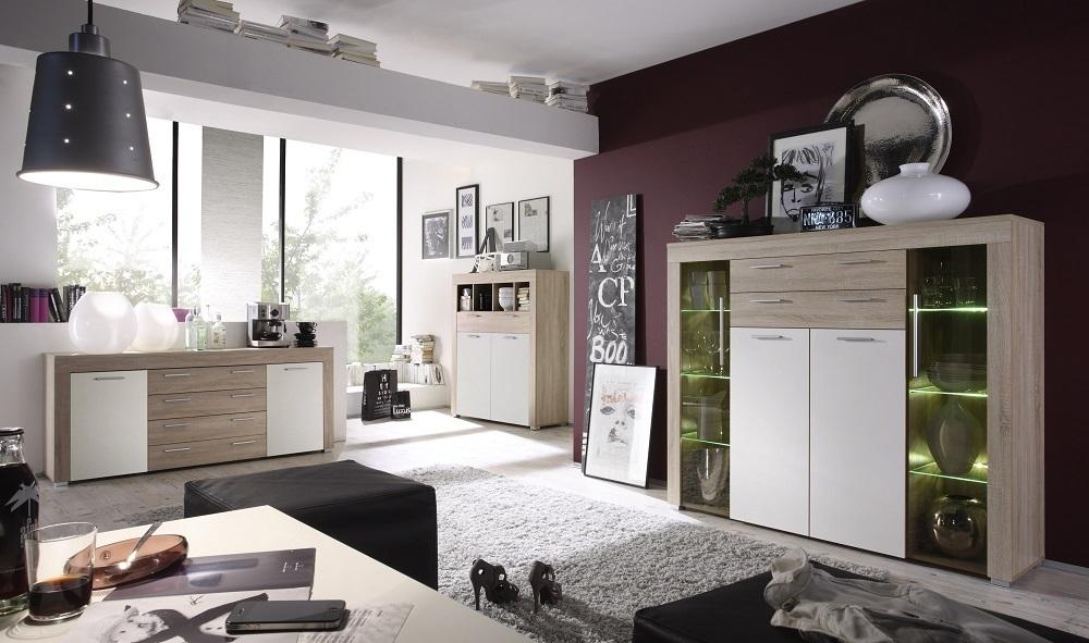 Madia moderna Friend, mobile soggiorno in 3 colori, credenza
