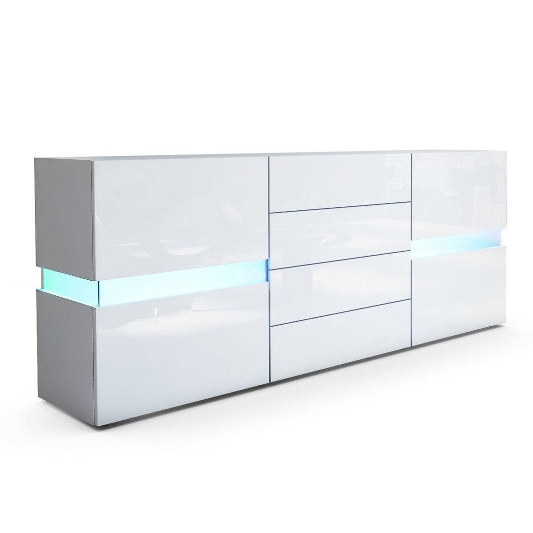Credenza moderna Faro bianca o nera, mobile soggiorno con LED