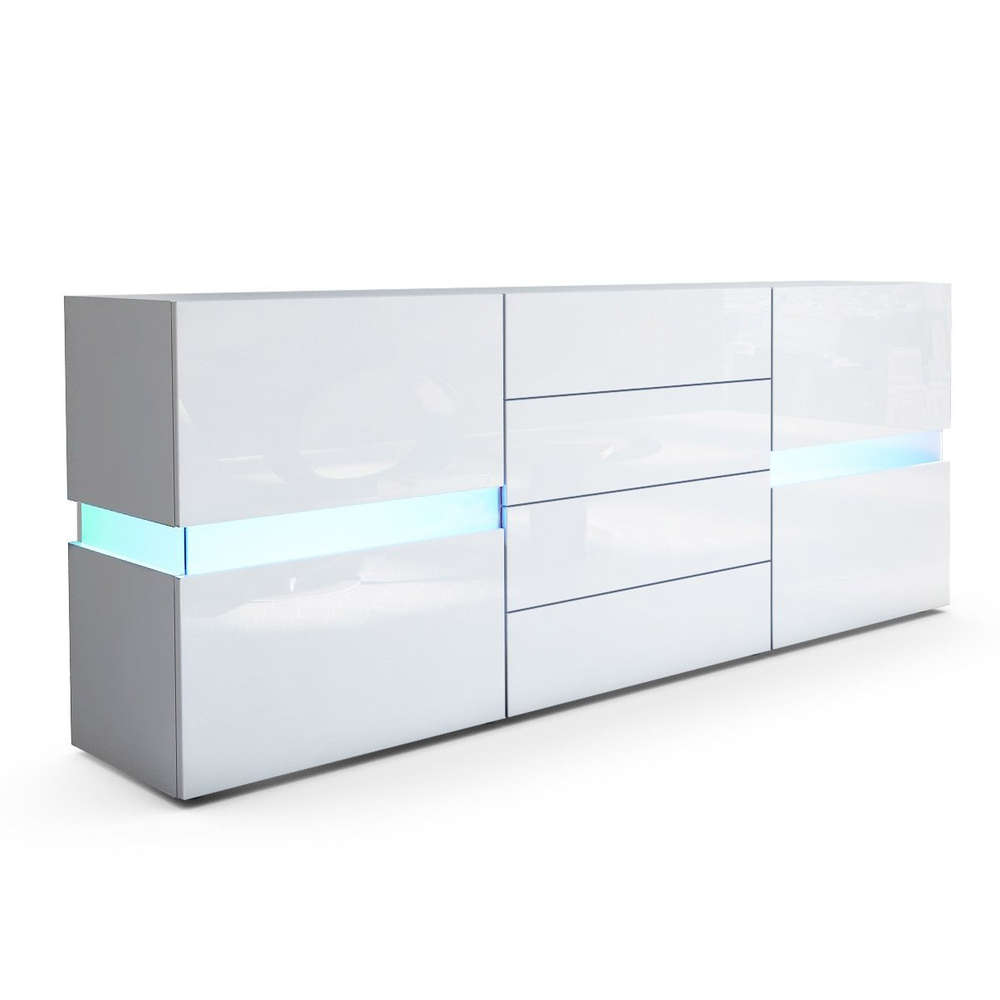moderna Vera bianca o nera, mobile soggiorno con LED