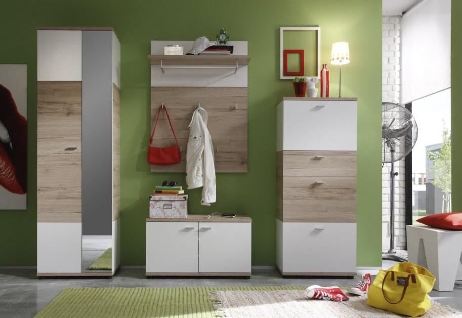 Entrata moderna Better, ingresso rovere e bianco, con scarpiera e armadio