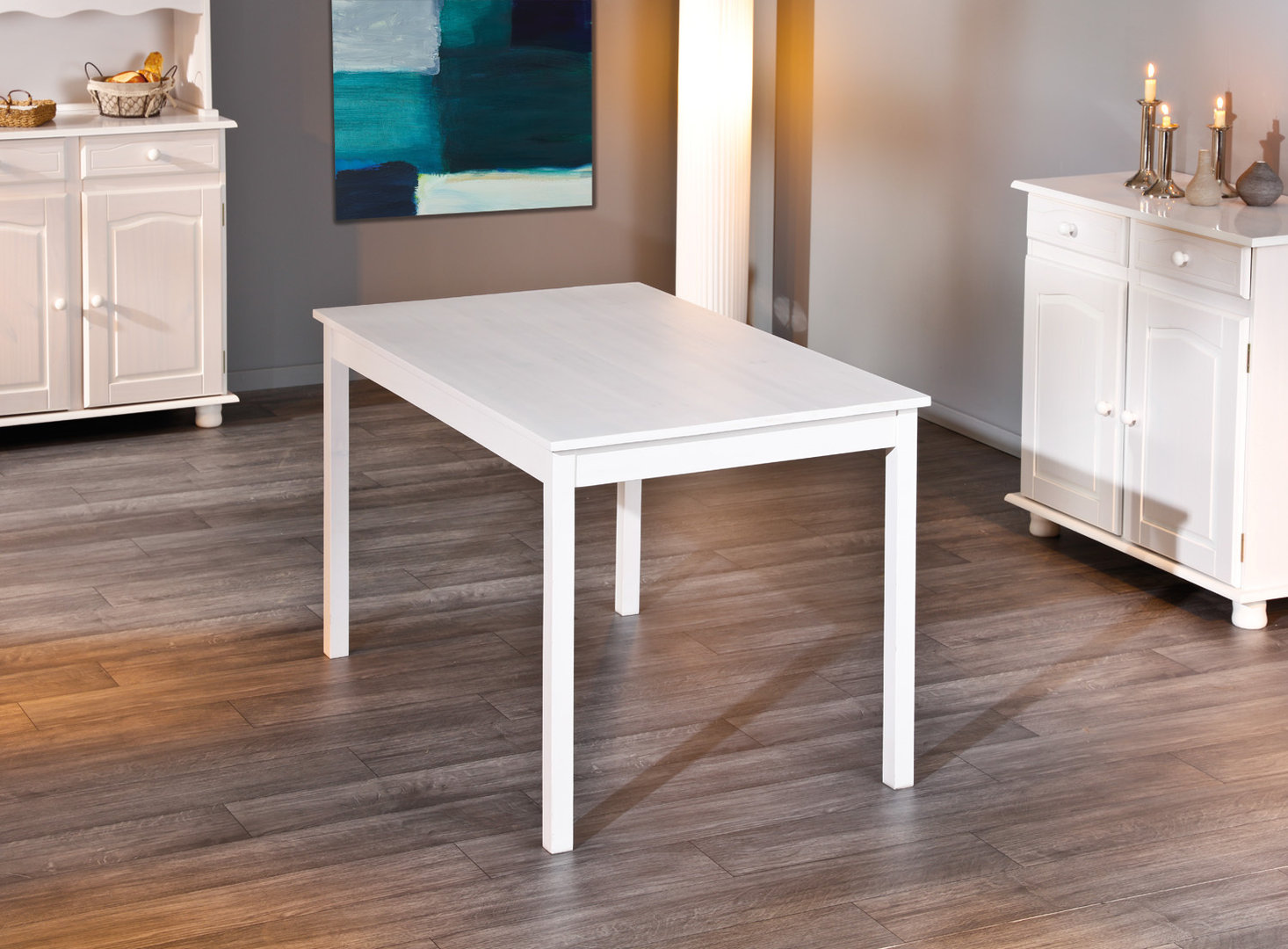 Divo tavolo moderno in legno bianco mobile per cucina sala - Tavoli da cucina in legno massello ...