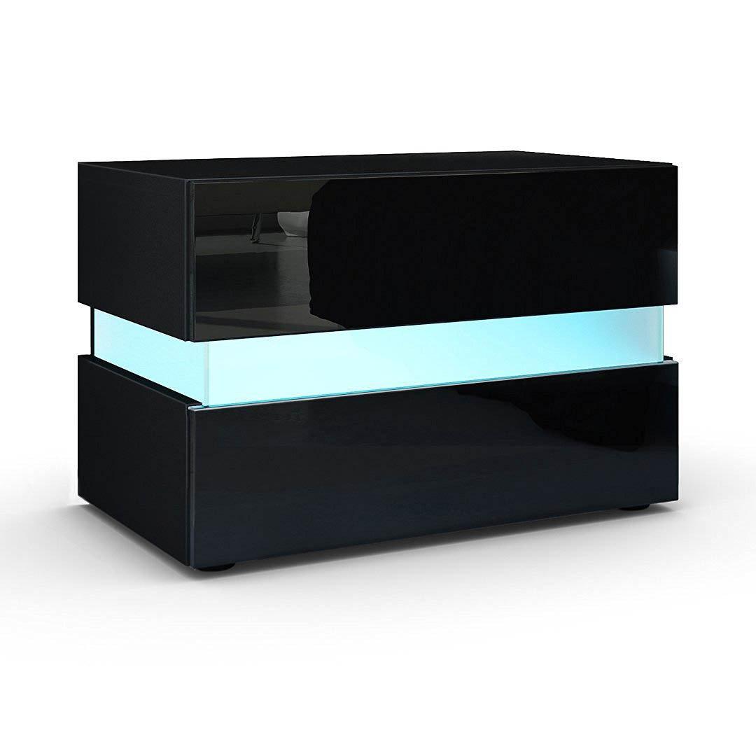 Comodino Nero Lucido.Comodino Moderno Faro Mobile Per Camera Bianco O Nero Con Led