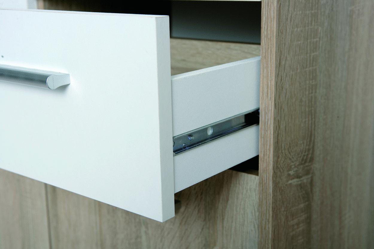Ballo mobiletto moderno bianco e rovere, mobile per soggiorno