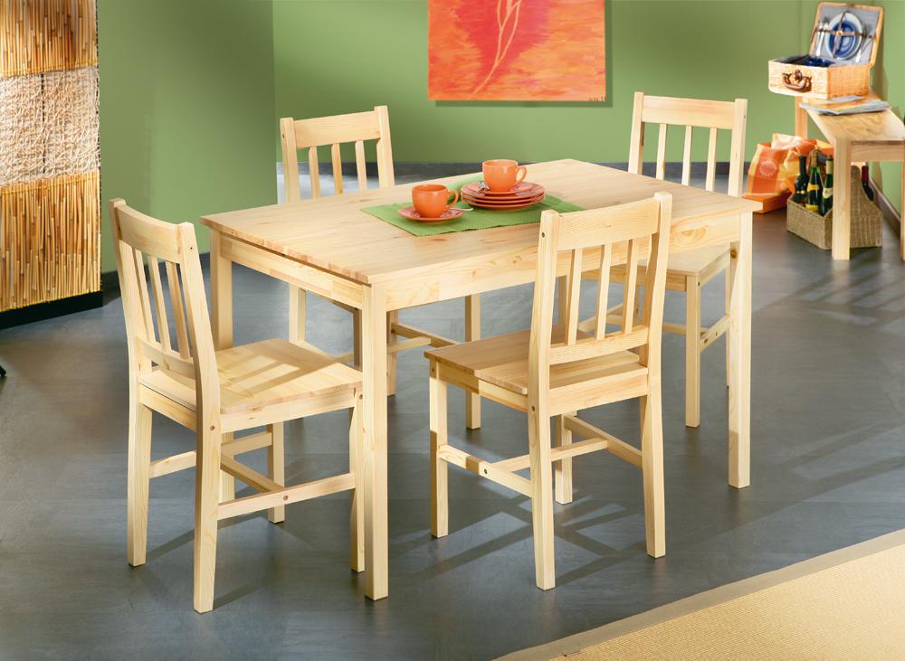 Tavolo con sedie bea mobile per cucina in legno naturale e sala - Tavolo piu sedie per cucina ...