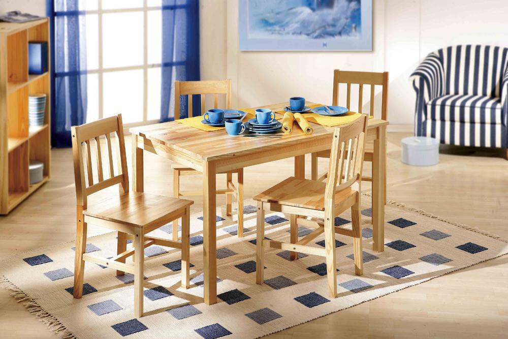 Tavolo con sedie bea mobile per cucina in legno naturale for Sedie legno per cucina