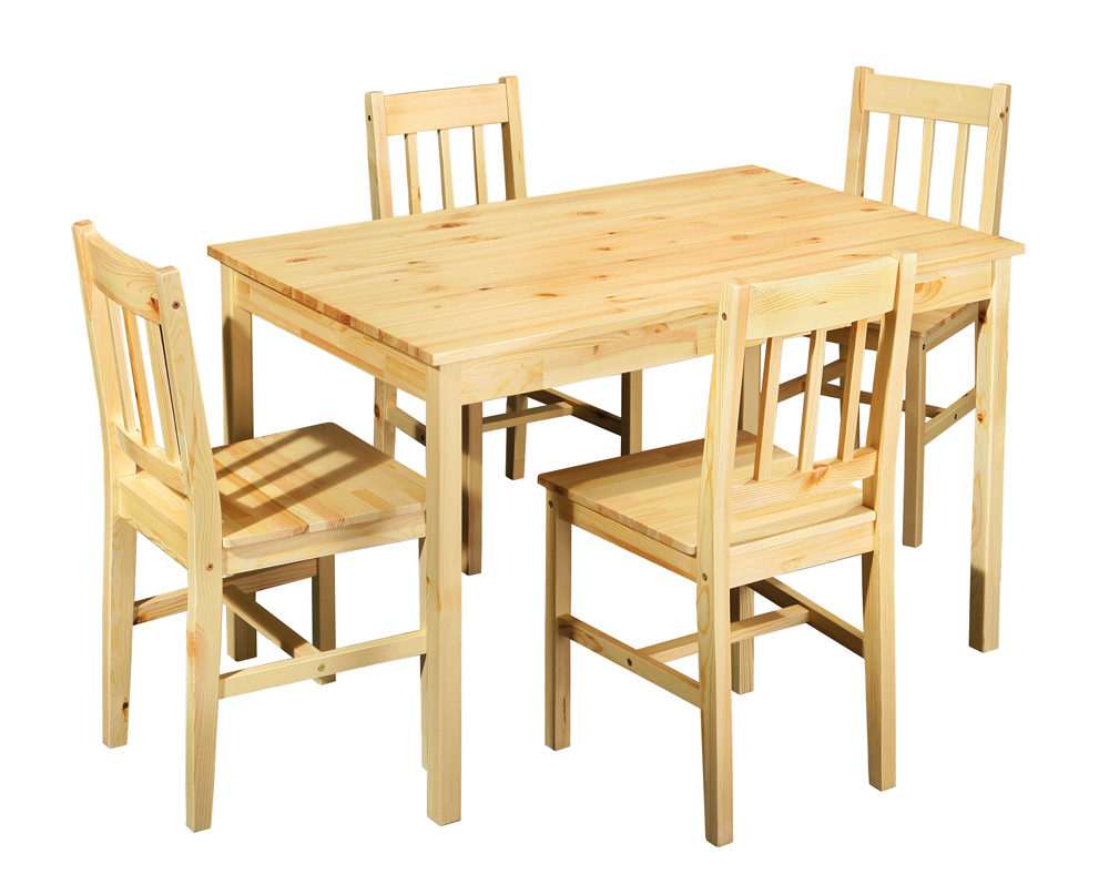 Tavolo con sedie Bea, mobile per cucina in legno naturale e sala da pranzo