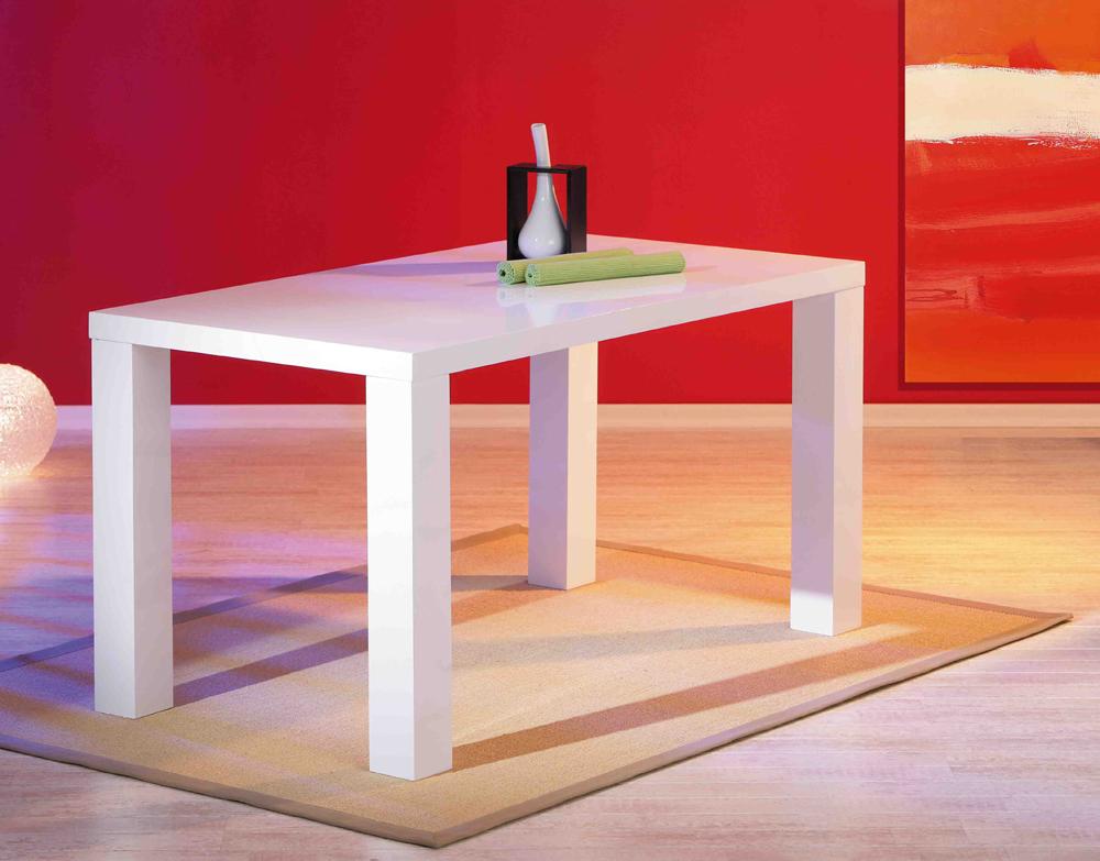 Tavolo moderno bianco Moris, mobile per cucina, sala da pranzo