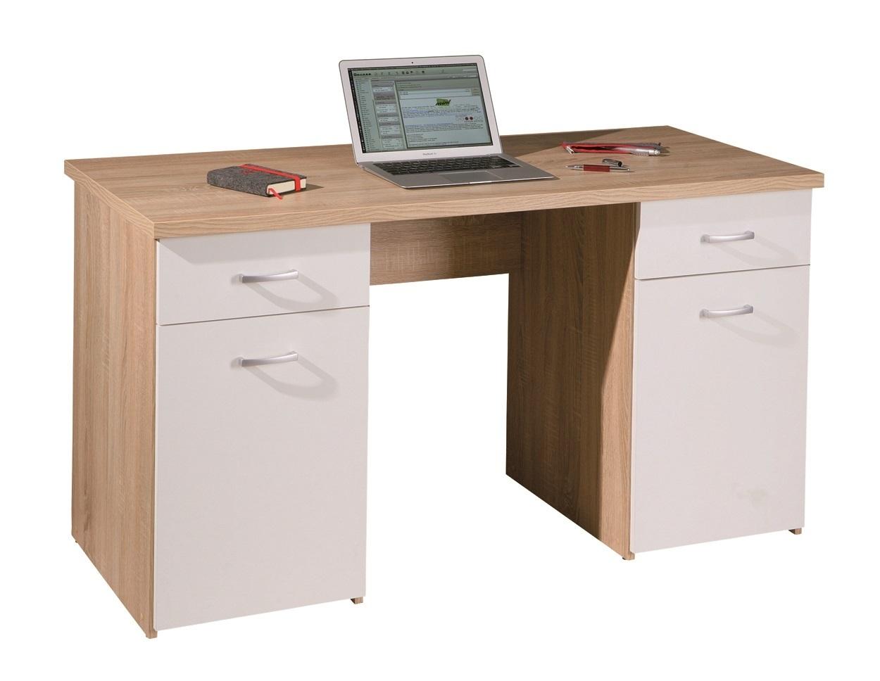 Scrivania moderna bianca e rovere Sery, mobile ufficio, studio